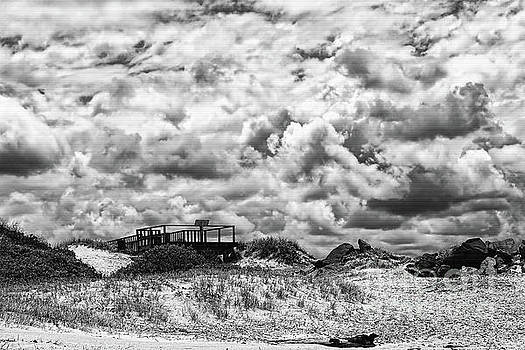 Cloudy Beach Black and White by Kaye Menner by Kaye Menner