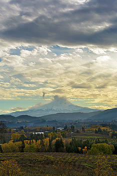 Cloudy Day over Mount Hood at Hood River Oregon by David Gn