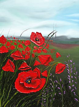 Cloudy Day Red Poppies by Portland Art Creations