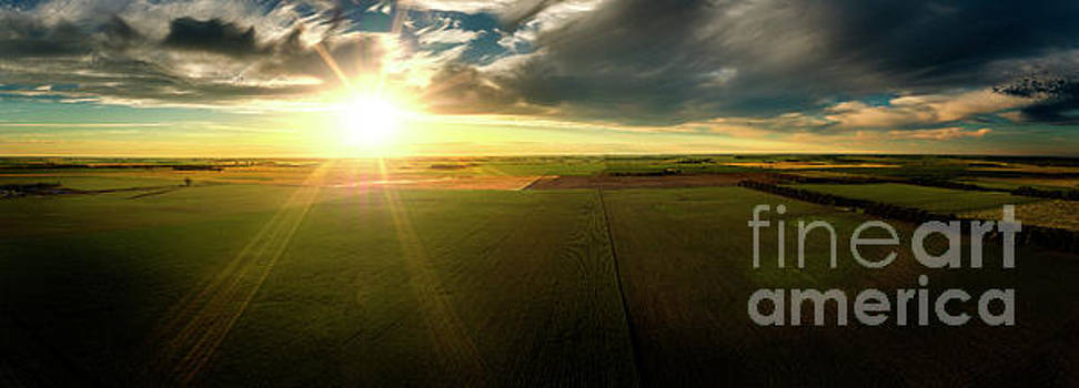 Cloudy Sunset Midwest Panoramic by Patrick Ziegler