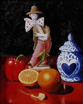 Clown around fruit by Gene Gregory