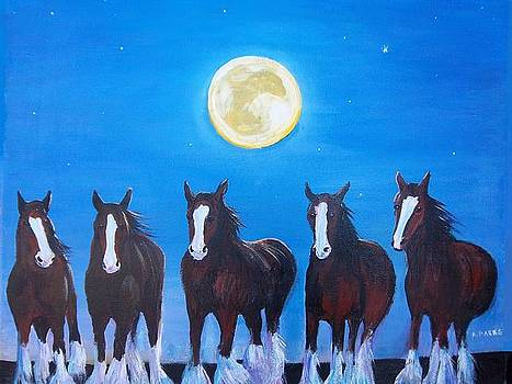 Clydesdales in Moonlight by Aleta Parks