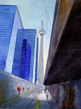 CN Tower from Track Four Union Station by Doug Goodale