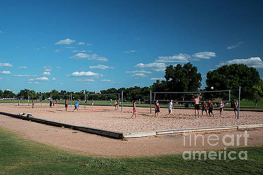 Herronstock Prints - Co-eds athletes play volleyball on a beautiful sunny summer day at the sand volleyball courts in Zilker Park