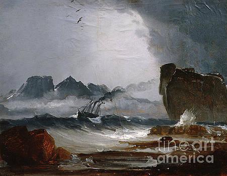 Coast landscape with ship by Peder Balke