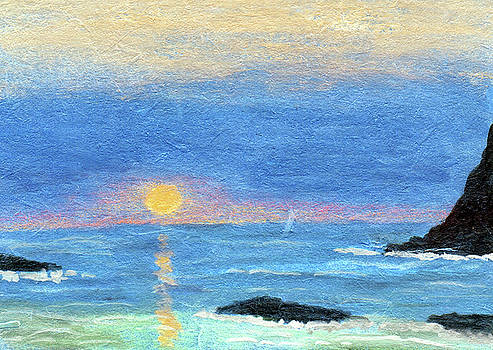 Coastal Sun and Crashing Waves by R Kyllo