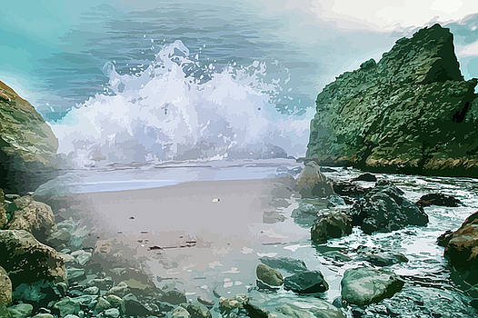 Coastal Surf On The Rocks Montage by Clive Littin