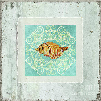 Coastal Trade Winds 5 - Driftwood Clandestine Triton Seashell Scrollwork by Audrey Jeanne Roberts
