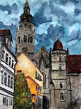 Coburg Germany Castle painting art print by Derek Mccrea