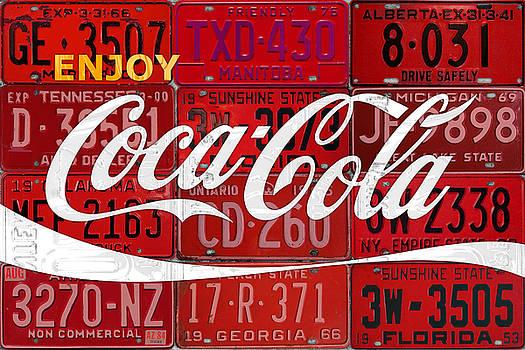 Coca Cola Enjoy Soft Drink Soda Pop Beverage Vintage Logo Recycled License Plate Art by Design Turnpike