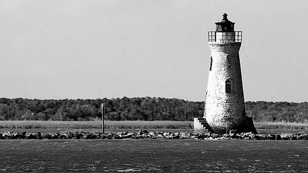 Carol Montoya - Cockspur Lighthouse In Black And White