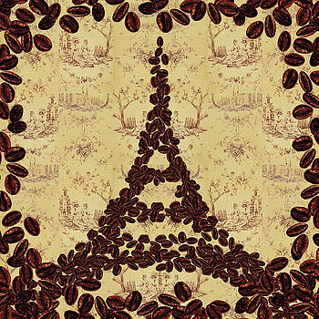 Coffee Beans Watercolor Eiffel Tower French Roast by Irina Sztukowski
