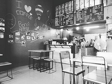 Coffee Cafe Black And White by Sirikorn Techatraibhop
