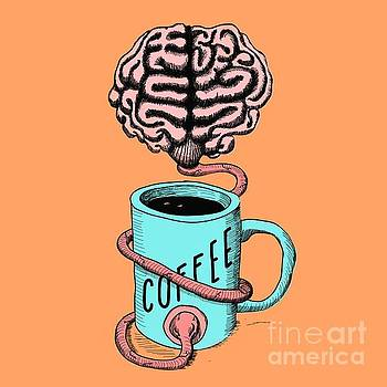 Coffee for the brain funny illustration by Cesar Padilla
