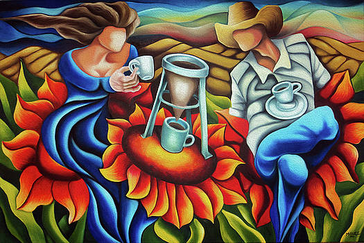 Coffee in flowers by Dixie Miguez