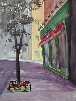 Coffee Shop  and Sidewalk Tree by Bethany Lee