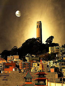 Wingsdomain Art and Photography - Coit Tower and The Empress of China Under The Golden Moonlight