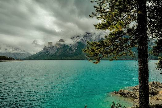 Cold Morning On Lake Minnewanka by Karl Anderson