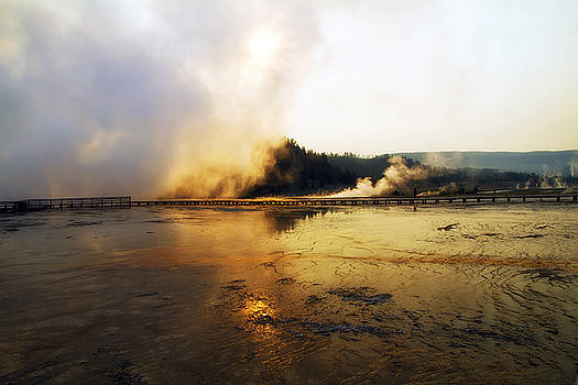 Teresa Zieba - Cold Morning Sunrise at Grand Prismatic Spring