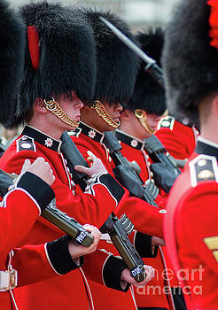 Coldstream guards at changing of the guard  by Andrew Michael