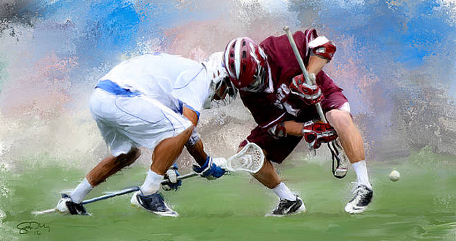 College Lacrosse Faceoff 4 by Scott Melby