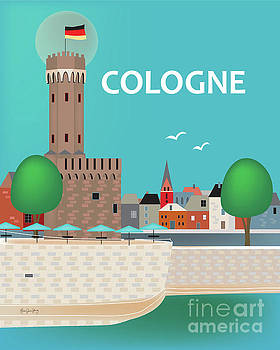 Malakoff Tower - Cologne, Germany Vertical Skyline by Karen Young
