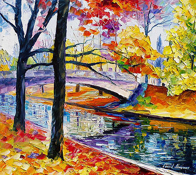 Color Bridge - PALETTE KNIFE Oil Painting On Canvas By Leonid Afremov by Leonid Afremov