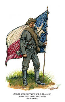 Color Sergeant George A. Branard - First Texas Infantry by Mark Maritato