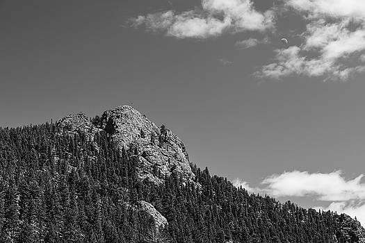 Colorado Buffalo Rock With Waxing Crescent Moon In BW by James BO Insogna