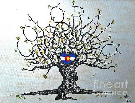 Colorado Flag Love Tree by Aaron Bombalicki