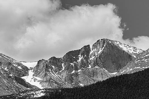 Colorado Longs Peak West Face In Monochrome by James BO Insogna