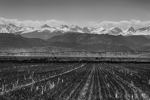 Colorado Rocky Mountain Agriculture View in Black and White by James BO Insogna