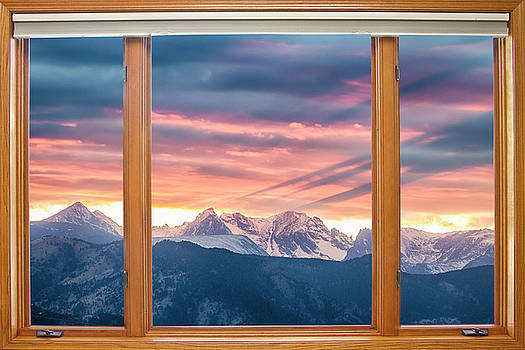 Colorado Rocky Mountain Sunset Waves Classic Wood Window View 2 by James BO Insogna