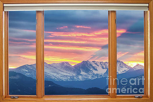 James BO Insogna - Colorado Rocky Mountain Sunset Waves Classic Wood Window View