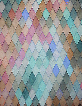 Colored Roof Tiles - Painting by Ericamaxine Price