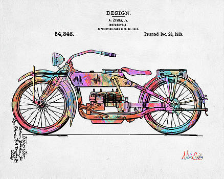 Nikki Marie Smith - Colorful 1919 Harley-Davidson Motorcycle Patent