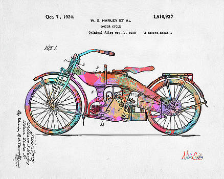 Nikki Marie Smith - Colorful 1924 Harley Motorcycle Patent Artwork