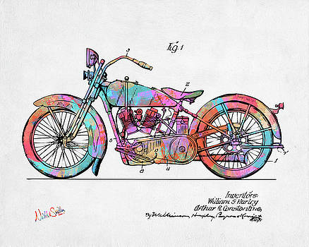 Nikki Marie Smith - Colorful 1928 Harley Motorcycle Patent Artwork