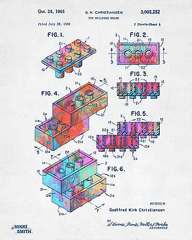 Nikki Marie Smith - Colorful 1961 Toy Building Brick Patent Art
