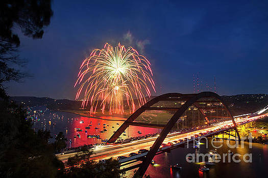 Herronstock Prints - Colorful 4th of July fireworks paint the night sky over the 360
