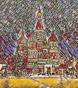 Colorful Abstract Digital Painting of St. Basils Cathedral in Moscow Russia   by Pd