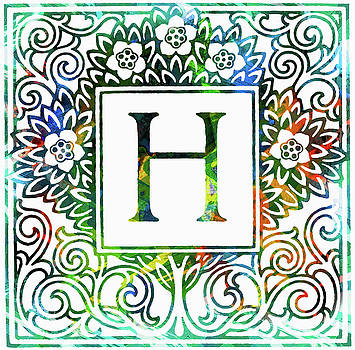 Colorful Ancient Alphabet Letter H by Georgiana Romanovna