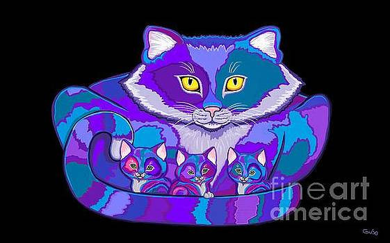 Nick Gustafson - Colorful Cat and  Kittens