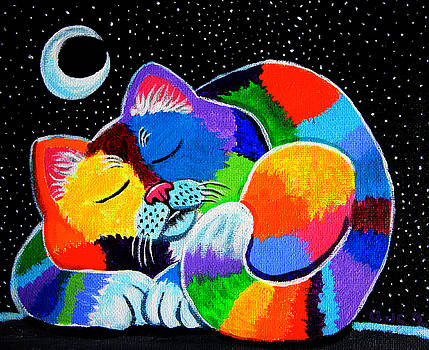 Colorful Cat in the Moonlight by Nick Gustafson