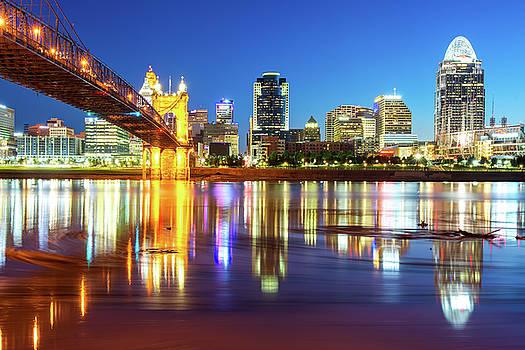 Colorful Cincinnati Ohio River Skyline by Gregory Ballos