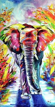 Colorful elephant walking by Kovacs Anna Brigitta