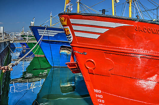 Colorful Fishing Boats in Yerseke Harbour by Frans Blok