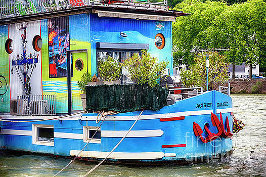 Colorful Houseboat on the Saone River by George Oze