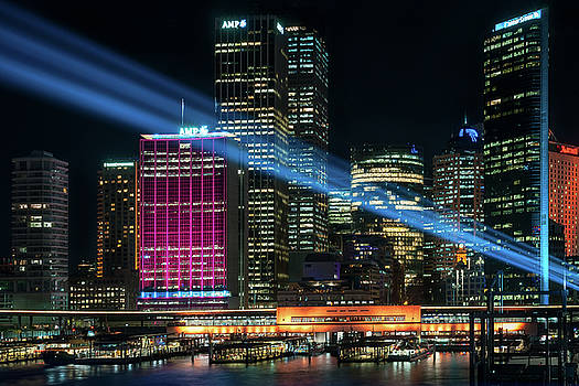 Colorful light projections in the City at Vivid Sydney Festival by Daniela Constantinescu