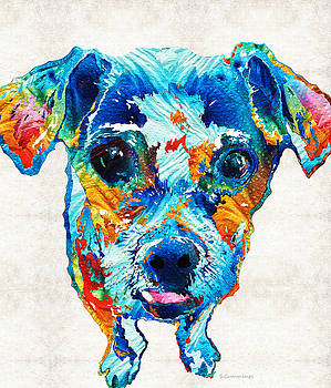 Sharon Cummings - Colorful Little Dog Pop Art by Sharon Cummings